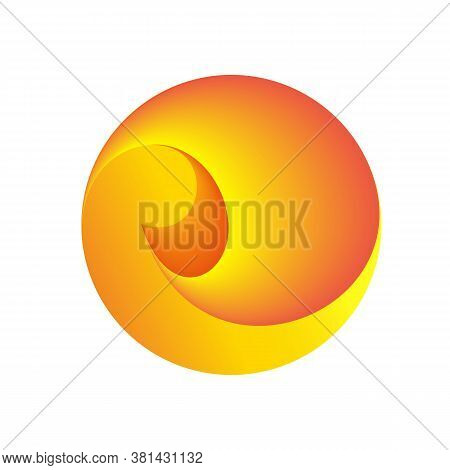 Curl Inside The Circle. Loop Swirl Going Into Perspective. Abstract Spherical Logo. Just A Symbol Wi