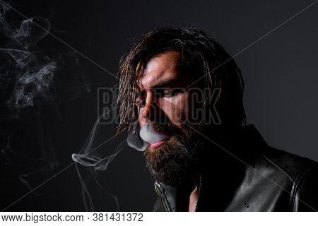 Handsome Man With Cigarette. Cigarette Smoke. Sensual Man Smoking. Tobacco. Smoking Hipster. Sensual