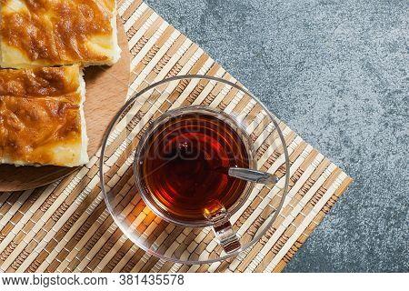 Turkish Su Boregi, Burek Or Borek, Turkish Water Patty Slices With Cheese And Turkish Tea, Tradition