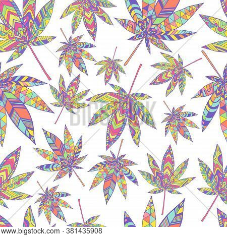 Bright Summer Psychedelic Abstract Hallucinogenic Cannabis Leaves Seamless Pattern, Isolated On Whit