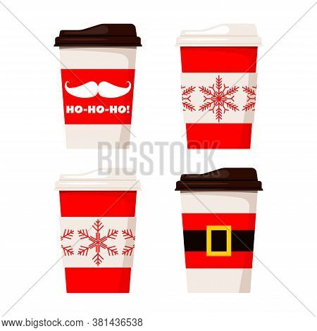 Merry Christmas Paper Coffee Or Tea Cups Decorated Santa Claus Belt, Ho-ho-ho And Snowflakes Illustr