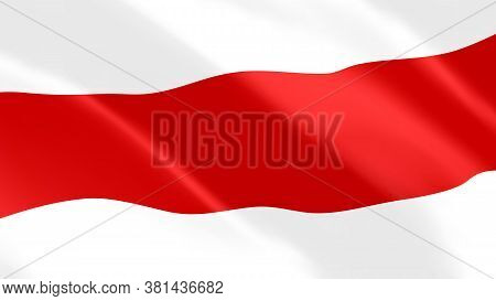 Flag Of The Historical Belarusian People's Republic Wavy Close Up. Exelent Shiny National Belarus Re