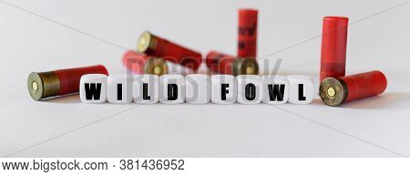 Against The Background Of Rifle Cartridges, There Are White Cubes With Text Wildfowl. Hunting And Da