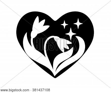 Snowdrops And Stars In The Heart - Black Vector Silhouette. Heart With Flowers - Silhouette. Two Sno