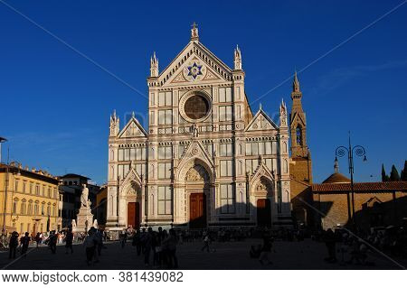 Florence, Italy - October 2: Tourism In Florence. A Crowd Of People In Santa Croce Square Outside Th