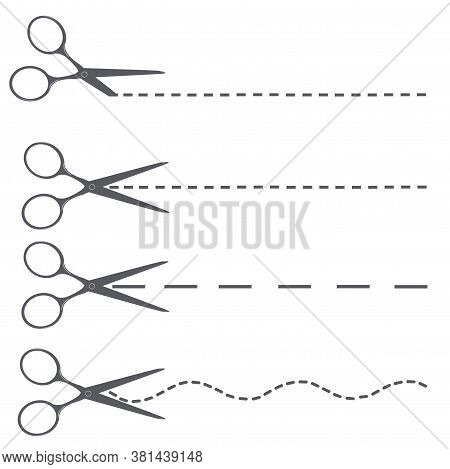Scissors Cut A Sheet Of Paper Along Dotted Lines Of Different Shapes: Straight, Wavy. Cut Out The Li