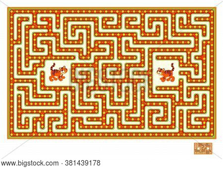 Logic Puzzle Game With Labyrinth For Children And Adults. Help The Little Tiger Find The Way In Till