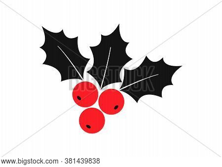 Holly Berry Vector Icon Christmas Symbol, Holiday Plant Isolated On White Background. Red And Black