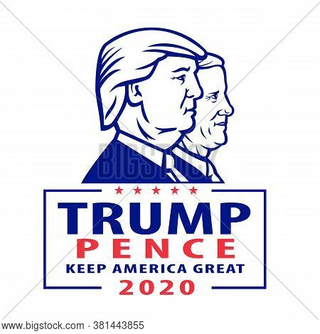 Aug 18, 2020, Auckland, New Zealand: Illustration Of American President And Vice President For Us El