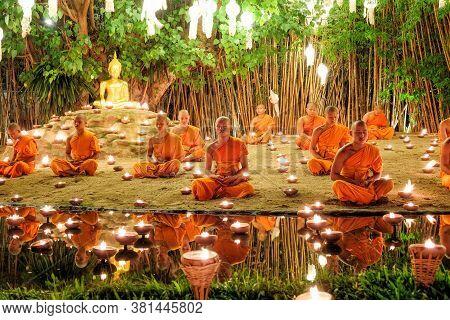 Chiang Mai Thailand - November 14 : Buddhist Monks Praying For The Loy Krathong Festival At Wat Phan