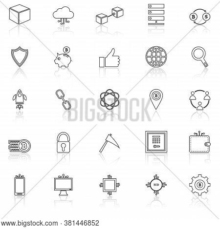 Blockchain Line Icons With Reflect On White Background, Stock Vector
