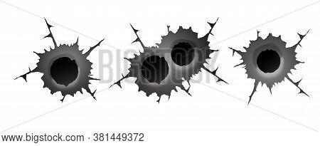 Bullet Hole On White Background. Realisic Metal Single And Double Bullet Hole, Damage Effect. Vector