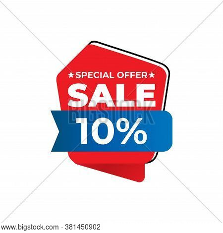 10% Sale Tag Vector Badge Template, 10% Sale Label Collection, Clearance Sale Sticker Emblem, Bargai