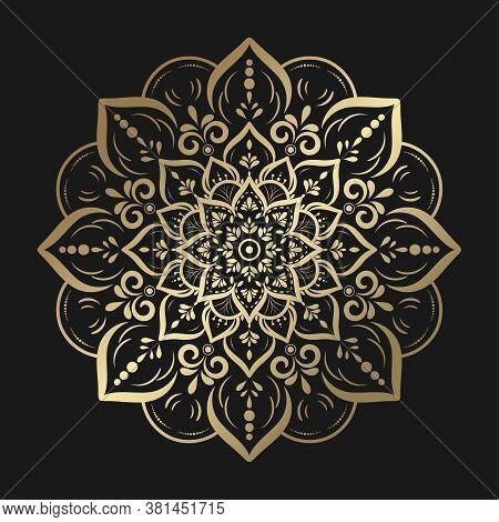 Circular Gold Mandala With Vintage Floral Style, Vector Mandala Oriental Pattern, Hand Drawn Decorat