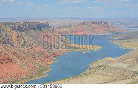 Flaming Gorge Reservoir From Sheep Creek Overlook In Ashley National Forest, Utah