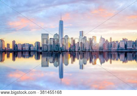 Manhattan Skyline  At Twilight, New York City