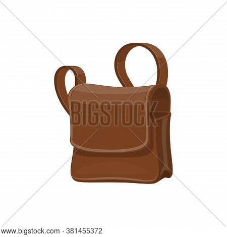 Mailbag, Leather Brown Sack Vector Isolated Icon. Delivering Mailman Bag, Postman Transportation Ite
