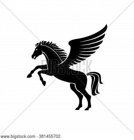 Pegasus Winged Stallion Isolated Mythical Animal. Vector Silhouette Of Heraldry Horse With Mane