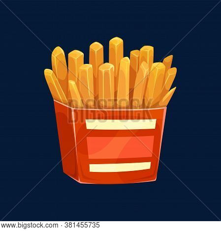 Fried Potatoes In Red Box With White Stripes Isolated Fastfood Snack. Vector Crispy Fries With Salt