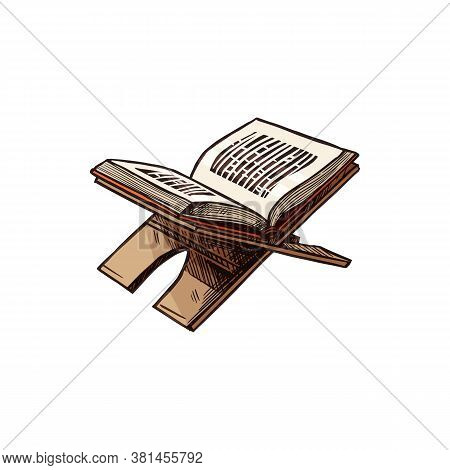 Open Quran Book On Stand Isolated Holy Koran Sketch. Vector Muslim Religion Symbol, Religious Text O