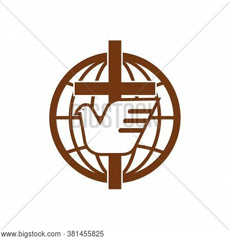 Globe, Holy Spirit Bird And Cross Isolated Religion Symbol. Vector Dove And Crucifix, Earth Icon