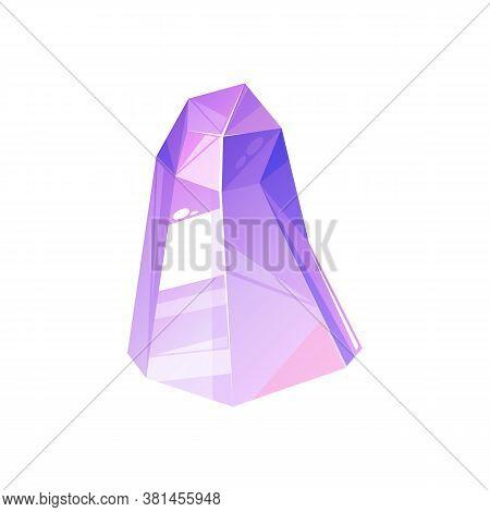 Tourmaline Purple Crystal Semi Precious Gemstone Isolated. Vector Amethyst Faceted Jewelry Gem