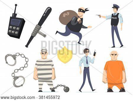 Criminals And Police Officers Set. Burglar With Money, Prisoners In Orange Or Striped Uniforms, Jail