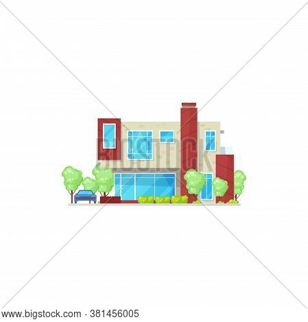 Modern Country House With Parked Vehicle Isolated Realistic Icon. Vector Stylish Building, Home On R