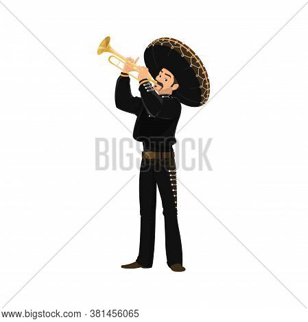 Mariachi Mexican Musician Playing On Trumpet Isolated Man In National Costume. Vector Latino Music B