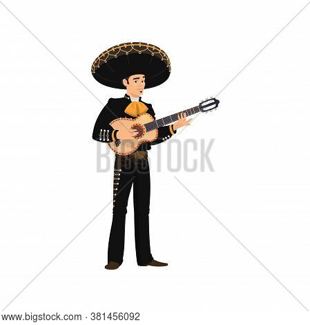 Mexican Guitarist Mariachi Playing On Guitar Isolated Musical Band Player. Vector Spanish Musician I