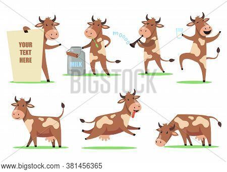 Funny Cartoon Cow Set. Cute Smiling Animal Character In Different Action, Happy Cow Dancing With Gla
