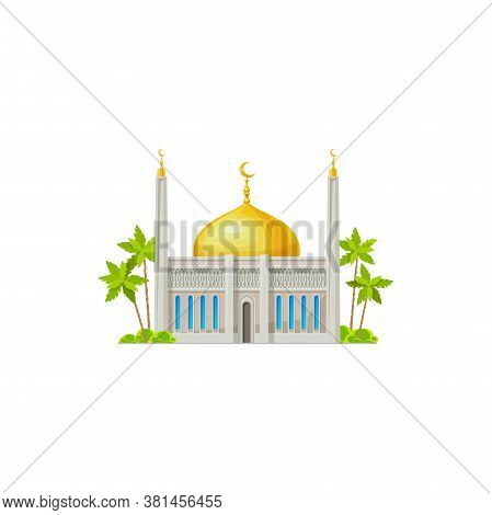 Arab Religion Architecture, Sultan House, Place Of Pray Isolated Icon. Vector Muslim Mosque, Islam R