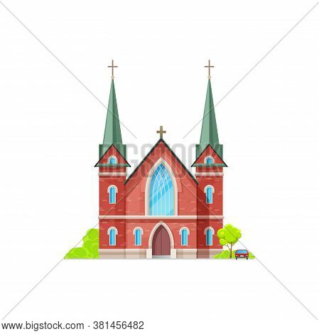 Christian Church Isolated Catholic Chapel Of Red Brick. Vector Holly Place To Hold Funeral And Weddi