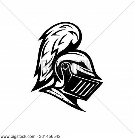 Renaissance Helmet Isolated Medieval Royal Knight Armour Monochrome Icon. Vector Protection And Secu