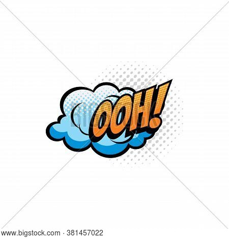 Ooh Comic Sound Cloud, Bubble Chat Cartoon Icon. Vector Isolated Ooh Sound Blast Cloud, Superhero Co