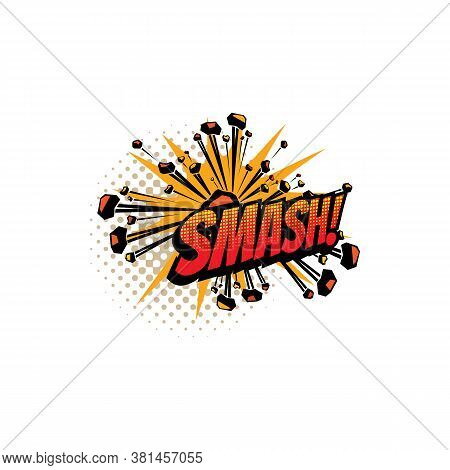 Sound Blast, Smash Bubble Cloud, Comic Book Cartoon Icon. Vector Smash Sound Cloud Explosion Burst B