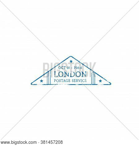 London Postage Service Isolated Grunge Triangular Post Stamp With Stars. Vector Post Office Symbol,