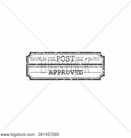 Approved Post Stamp Isolated Delivery Sign With Date And Number. Vector Rectangle Postmark, Approval