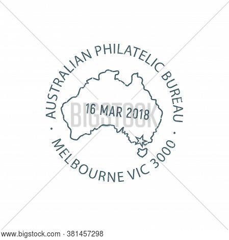 Australian Philatelic Bureau Isolated Melbourne Post Stamp Template. Vector National Postal Administ