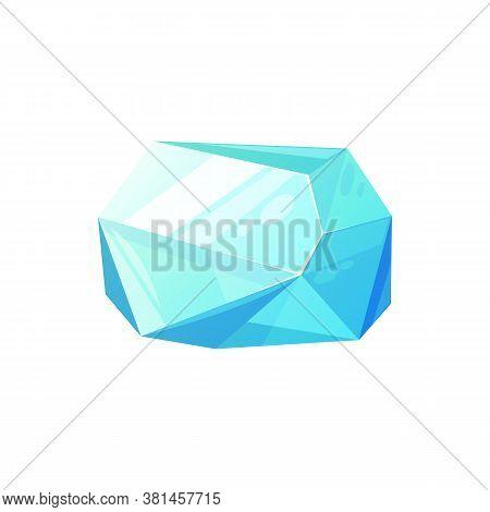 Jewelry Blue Aquamarine Stone Isolated Gem. Vector Faceted Emerald Gemstone, Beryl Mineral