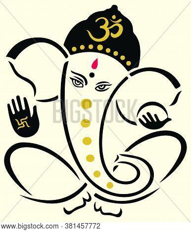 Drawing Or Sketch Of Hindu God, Lord Ganesha Vector Editable Outline Illustration