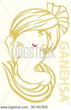 Drawing Or Sketch Of Hindu God, Lord Ganesha Wear Cloth Turban In A Head Vector Editable Outline Ill