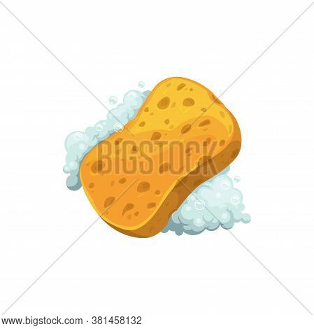 Washcloth In Soapy Foam Isolated Hygiene Object In Realistic Design. Vector Washing Sponge With Soap
