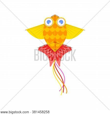 Kites In Shape Of Bird, Fish Or Insects, Entertainment And Active Pastime. Vector Toy Of Paper Or Fa