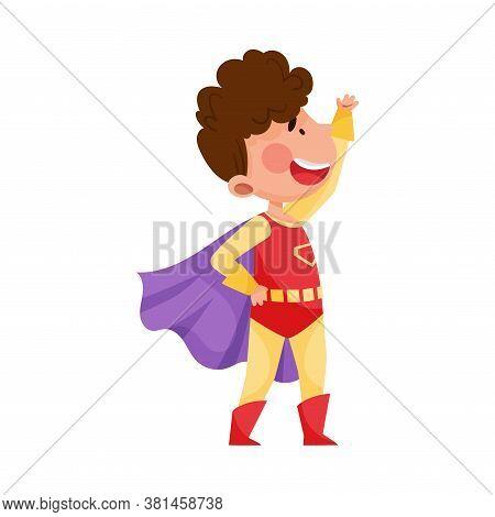Cute Boy Wearing Superhero Costume Pretending To Have Super Power Vector Illustration