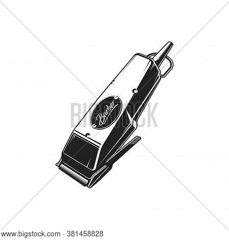 Electric Trimmer Isolated Electrical Hair Clipper Monochrome Icon. Vector Retro Hairdresser Machine