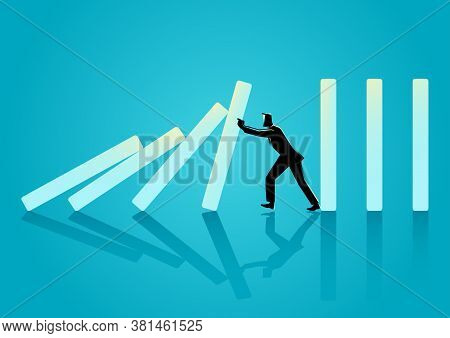 Business Concept Vector Illustration Of A Businessman Trying To Stop Domino Effect