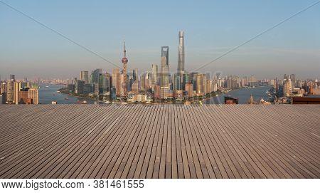 Aerial Photography Bird View At Shanghai Bund Skyline