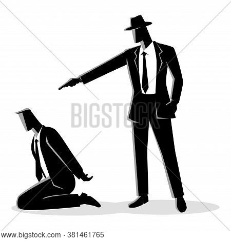 Vector Silhouette Illustration Of A Man Aiming A Gun To The Kneeling Man's Head