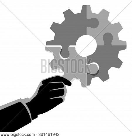 Business Concept Vector Illustration Of Businessman Hand Holding The Final Piece Of Puzzle Which For